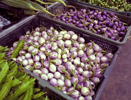 thai market aubergines
